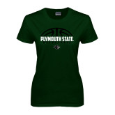 Ladies Dark Green T Shirt-Basketball Half Ball Design