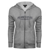 ENZA Ladies Grey Fleece Full Zip Hoodie-Plymouth State Panthers Glitter