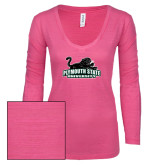 ENZA Ladies Hot Pink Long Sleeve V Neck Tee-Secondary Mark