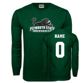 Dark Green Long Sleeve T Shirt-Secondary Mark, Custom Tee w/ Name and #