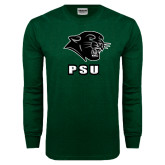 Dark Green Long Sleeve T Shirt-PSU Stacked w/ Panther Head