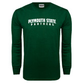 Dark Green Long Sleeve T Shirt-Plymouth State Panthers Arched
