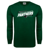 Dark Green Long Sleeve T Shirt-Panthers Fancy Lines