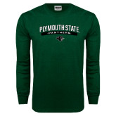 Dark Green Long Sleeve T Shirt-Plymouth State Panthers Arched w Panther Head