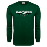 Dark Green Long Sleeve T Shirt-Football Abstract Ball Design