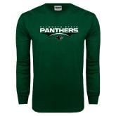 Dark Green Long Sleeve T Shirt-Football Abstract Ball Design