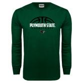Dark Green Long Sleeve T Shirt-Basketball Half Ball Design