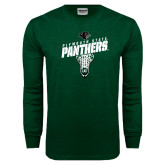 Dark Green Long Sleeve T Shirt-Lacrosse Stick Design