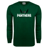 Dark Green Long Sleeve T Shirt-Track and Field Wings Design