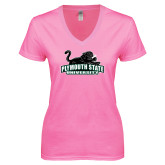 Next Level Ladies Junior Fit Ideal V Pink Tee-Secondary Mark