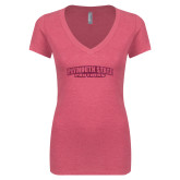 Next Level Ladies Vintage Pink Tri Blend V-Neck Tee-Plymouth State Panthers Glitter