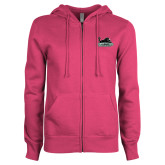 ENZA Ladies Fuchsia Fleece Full Zip Hoodie-Secondary Mark