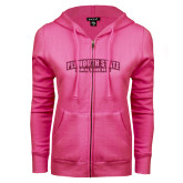 ENZA Ladies Fuchsia Fleece Full Zip Hoodie-Plymouth State Panthers Glitter