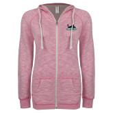 ENZA Ladies Hot Pink Marled Full Zip Hoodie-Secondary Mark