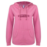 ENZA Ladies Hot Pink V Notch Raw Edge Fleece Hoodie-Plymouth State Panthers Glitter