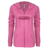 ENZA Ladies Hot Pink Light Weight Fleece Full Zip Hoodie-Plymouth State Panthers Glitter
