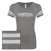 ENZA Ladies Dark Heather/White Vintage Triblend Football Tee-Plymouth State Panthers Glitter