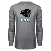Grey Long Sleeve T Shirt-PSU Stacked w/ Panther Head