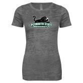 Next Level Ladies Junior Fit Dark Grey Burnout Tee-Secondary Mark