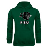 Dark Green Fleece Hood-PSU Stacked w/ Panther Head