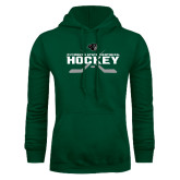 Dark Green Fleece Hood-Hockey Crossed Sticks Design