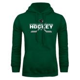 Dark Green Fleece Hood-Hockey Crossed Sticks Design