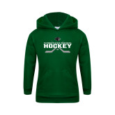 Youth Dark Green Fleece Hoodie-Hockey Crossed Sticks Design