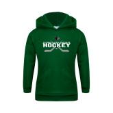 Youth Dark Green Fleece Hoodie-Hockey Crossed Sticks Design