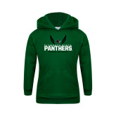Youth Dark Green Fleece Hoodie-Track and Field Wings Design