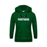 Youth Dark Green Fleece Hoodie-Track and Field Wings Design