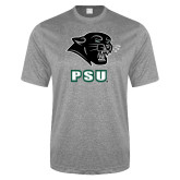 Performance Grey Heather Contender Tee-PSU Stacked w/ Panther Head