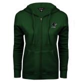 ENZA Ladies Dark Green Fleece Full Zip Hoodie-PSU Stacked w/ Panther Head