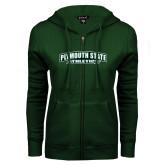 ENZA Ladies Dark Green Fleece Full Zip Hoodie-Plymouth State Panthers