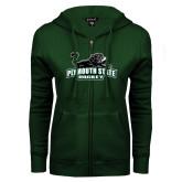 ENZA Ladies Dark Green Fleece Full Zip Hoodie-Hockey