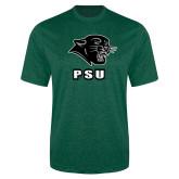 Performance Dark Green Heather Contender Tee-PSU Stacked w/ Panther Head