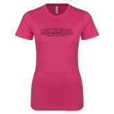 Ladies SoftStyle Junior Fitted Fuchsia Tee-Plymouth State Panthers Glitter