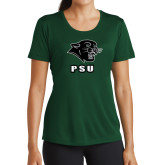 Ladies Performance Dark Green Tee-PSU Stacked w/ Panther Head