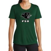 Ladies Performance Dark Green Tee-PSU Stacked w/ Panther Head