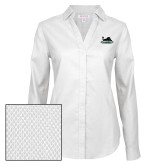 Ladies Red House Diamond Dobby White Long Sleeve Shirt-Secondary Mark