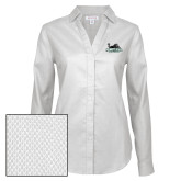 Ladies Red House Diamond Dobby White Long Sleeve Shirt-Primary Mark