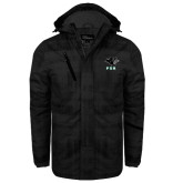 Black Brushstroke Print Insulated Jacket-PSU Stacked w/ Panther Head