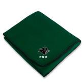 Dark Green Arctic Fleece Blanket-PSU Stacked w/ Panther Head