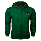 Dark Green Fleece Full Zip Hoodie-PSU Stacked w/ Panther Head