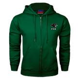 Dark Green Fleece Full Zip Hood-PSU Stacked w/ Panther Head