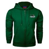 Dark Green Fleece Full Zip Hood-Primary Mark