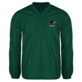 V Neck Dark Green Raglan Windshirt-PSU Stacked w/ Panther Head