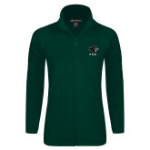Ladies Fleece Full Zip Dark Green Jacket-PSU Stacked w/ Panther Head