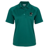 Ladies Dark Green Textured Saddle Shoulder Polo-PSU Stacked w/ Panther Head