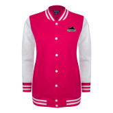 Ladies Pink Raspberry/White Fleece Letterman Jacket-Secondary Mark