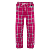 Ladies Dark Fuchsia/White Flannel Pajama Pant-Secondary Mark